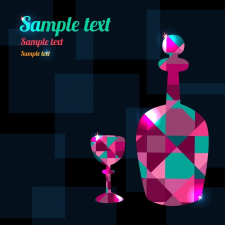decanter: Abstract background with decanter, wine glass and space for text - vector Illustration