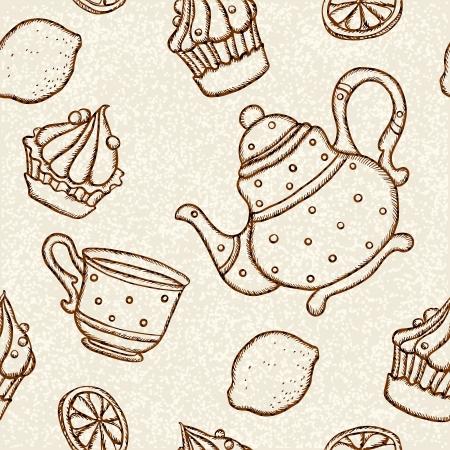 demitasse: Modello senza saldatura con tazze da t�, teiere, torte e limoni - vettore