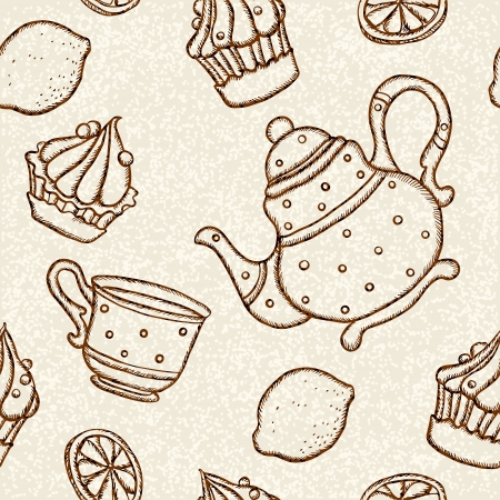 demitasse: Seamless pattern with teacups, teapots, cakes and lemons - vector