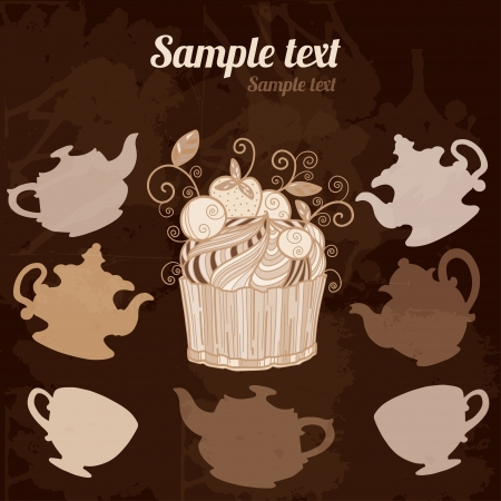 Background with teacups, kettles and cake - vector Vector