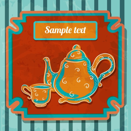 demitasse: Background with teacup, kettle and space for text - vector Illustration