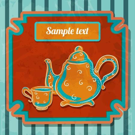 demitasse: Sfondo con tazza da t�, bollitore e lo spazio per il testo - vettore