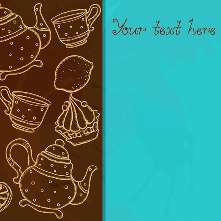 Background with teacups, teapots, cake lemons, and space for text - vector