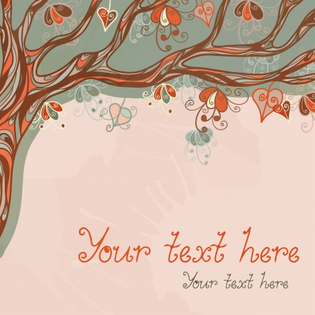 Abstract background with a autumn tree and space for text - vector Vector