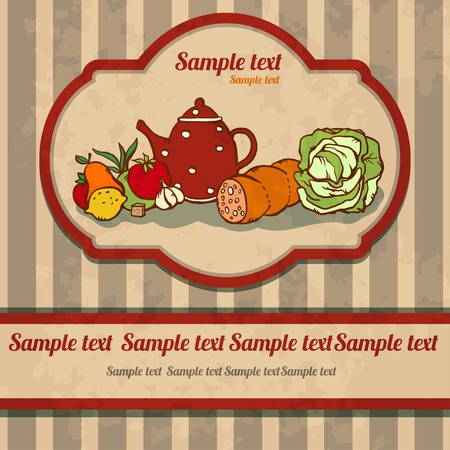 Vintage food background with space for text - vector Vector
