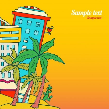 Travel background with hotels and palm trees - vector Vector