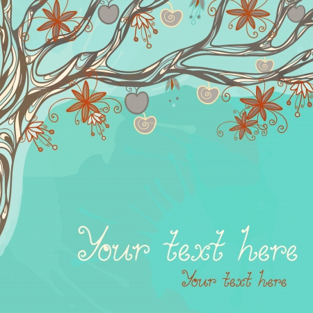 Winter tree with space for text - vector Vector