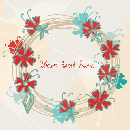 Abstract floral background with frame and space for text - vector Vector