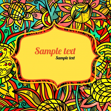 Colorful floral background with frame and space for text - vector  Vector