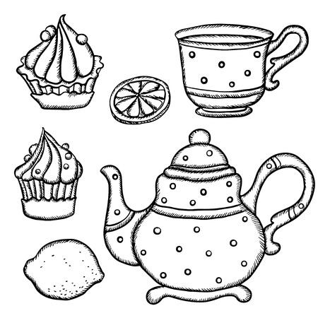 afternoon cafe: Conjunto aislado taza de t�, tetera, limones y pasteles - vector