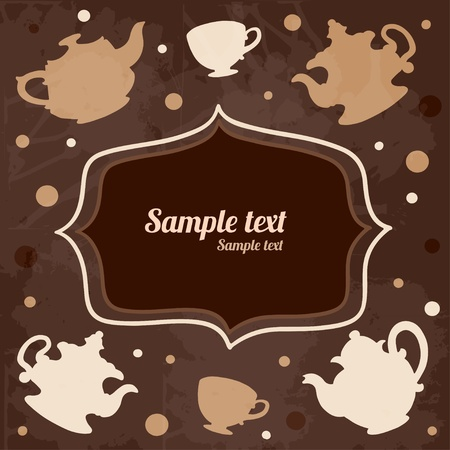 Background with tea cups, kettles, frame and space for text - vector Vector
