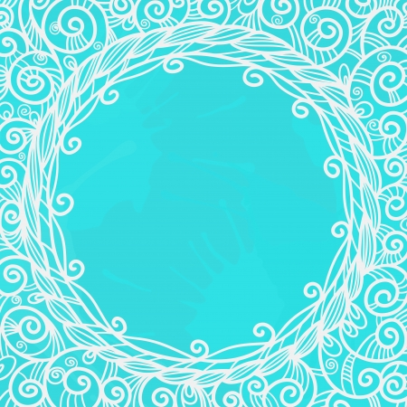 Blue background with white floral frame and space for text - vector Illustration