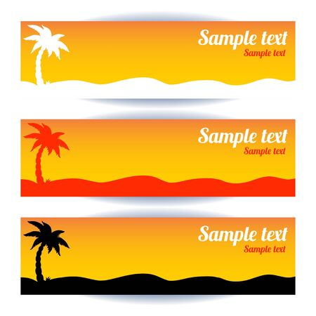coconut tree: Coconut tree banners set - vector