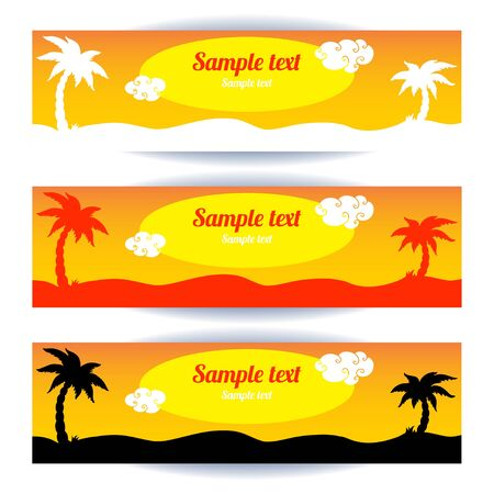 Coconut tree banners set - vector Vector