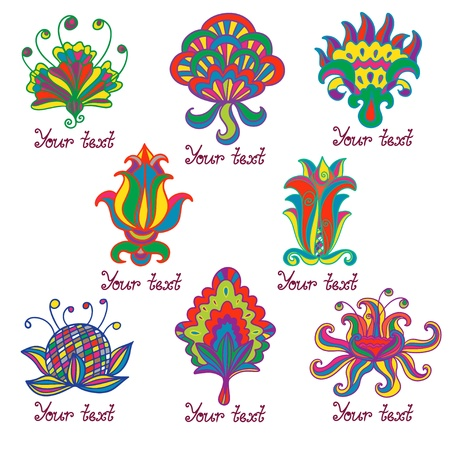 Set flowers colorful icon isolated - vector Vector