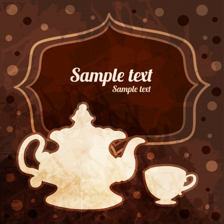 Background with tea cup, teapot, frame and space for text - vector Illustration