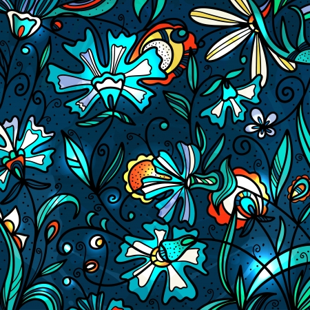 Colorful floral background - vector