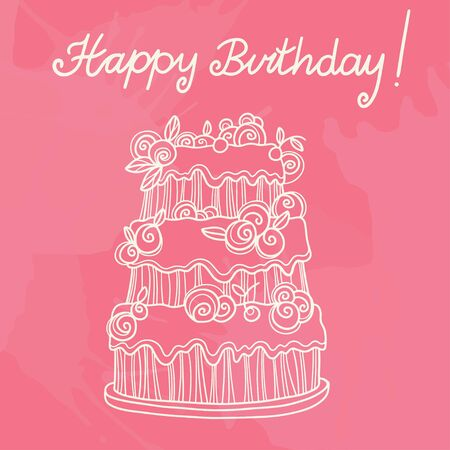 Happy birthday background with cake - vector Vector