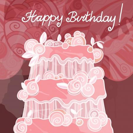 Fond de joyeux anniversaire avec gâteau - vecteur Banque d'images - 19830736