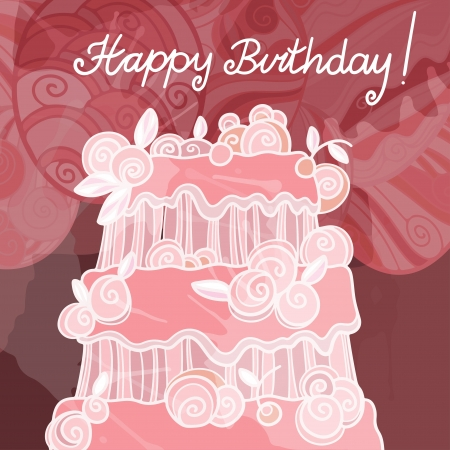 birthday food: Happy birthday background with cake - vector Illustration