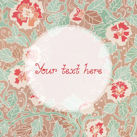 Floral abstract background with frame and space for text - vector Vector