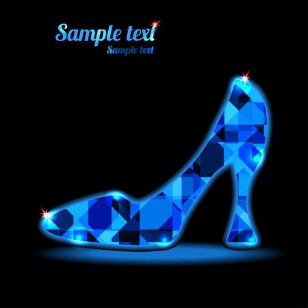 cinderella shoes: Icon crystal shoes on a dark background with space for text - vector