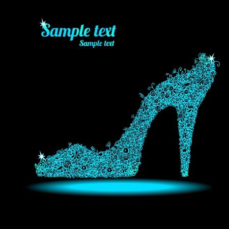 shoe sale: Icono zapatos florales de cristal sobre un fondo oscuro con espacio para el texto - vector Vectores