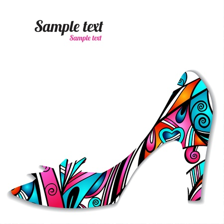 high fashion: Sign pattern shoes  - vector