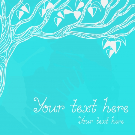Background with a winter tree and space for text - vector Vector