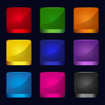 Set of color icons buttons - vector Stock Vector - 19830734