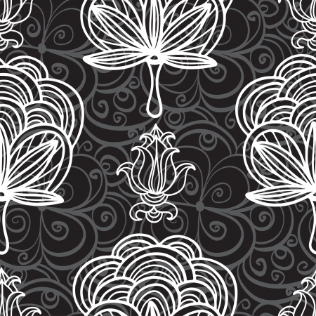 Floral monochrome seamless  pattern - vector Stock Vector - 19830789