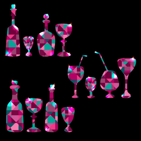 Set of colorful  bottles, stemware, decanters and wine glass - vector Vector