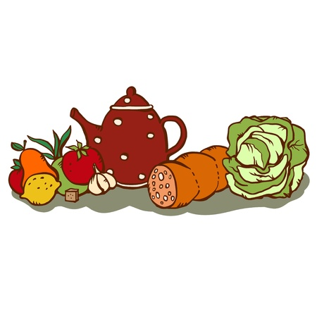 demitasse: Vintage set food and kettle isolated - vector