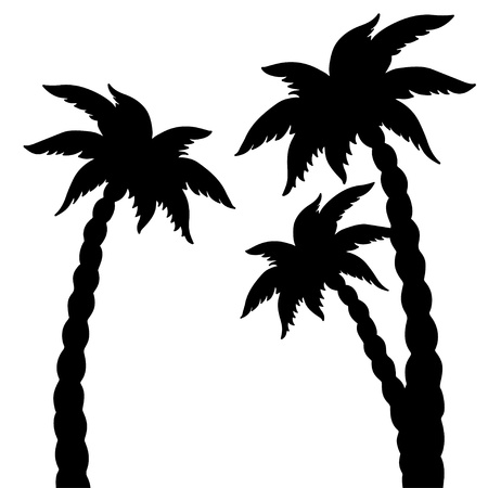 Set coconut palms trees silhouettes isolated on white background - vector