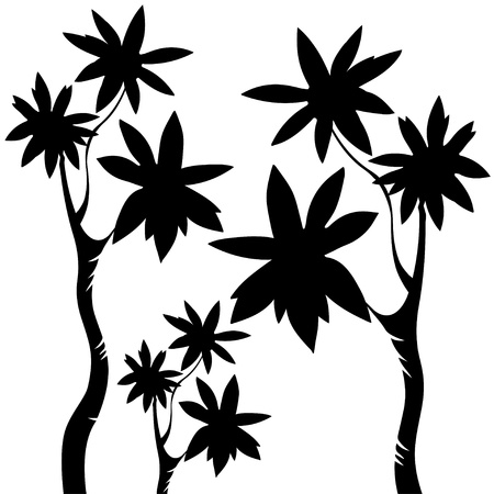 Isolated silhouettes of trees - vector Vector