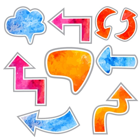 Set icon watercolor arrows, cloud, speech bubble - vector Stock Vector - 19830797