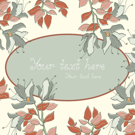 Floral background and frame for text - vector Vector