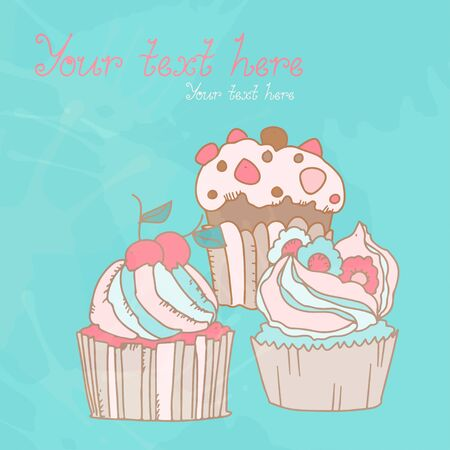 Background with birthday cakes - vector Vector
