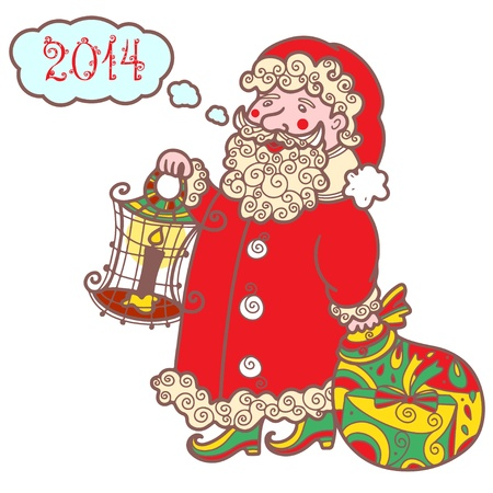 Isolated Santa Claus with gifts and lantern - vector  Vector