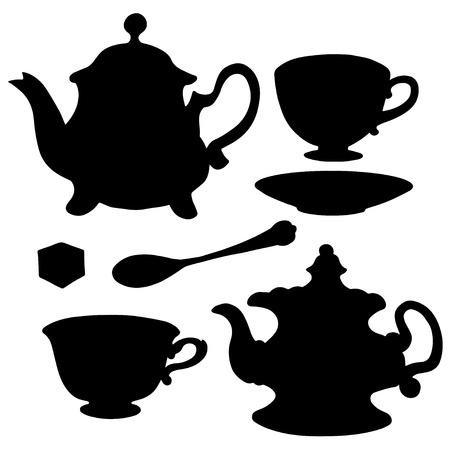 Jeu d'icônes théières, tasses à thé, cuillère à café, soucoupe et le sucre - vecteur Banque d'images - 19830808