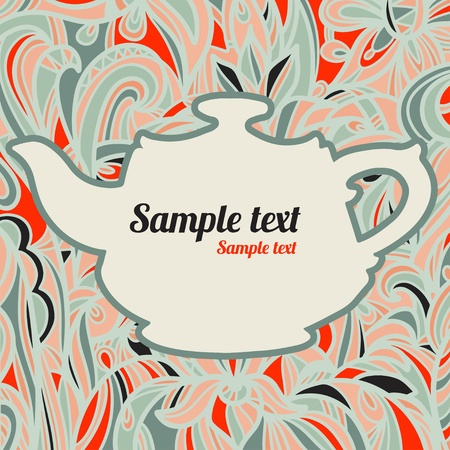 Background with a teapot - vector Vector