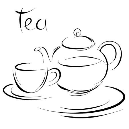 kettles: Taza de t� y la tetera Sketch - vector Vectores