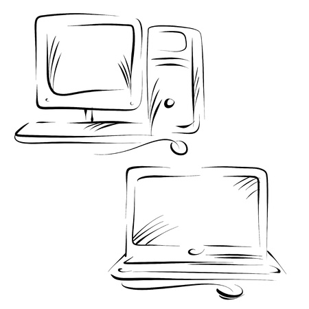 Set sketch of computer, server, monitor, mouse, notebook  Vector