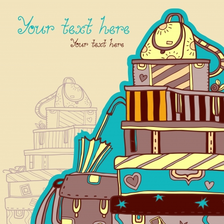 Background with suitcases, bag, boxes and umbrella Vector