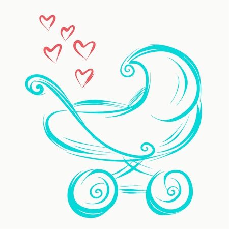 stroll: Sketch icon baby stroller with hearts  Illustration