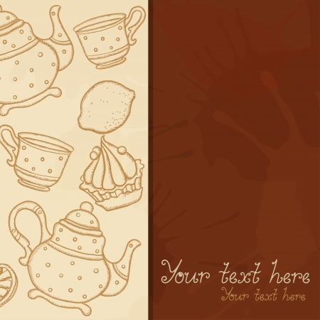 Background with teacups, teapots, cake lemons, and space for text  Vector