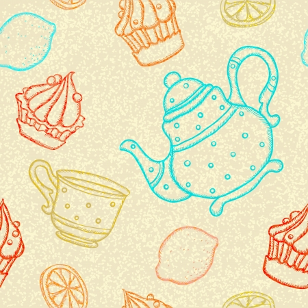 Seamless pattern with teacups, teapots, cakes and lemons  Vector