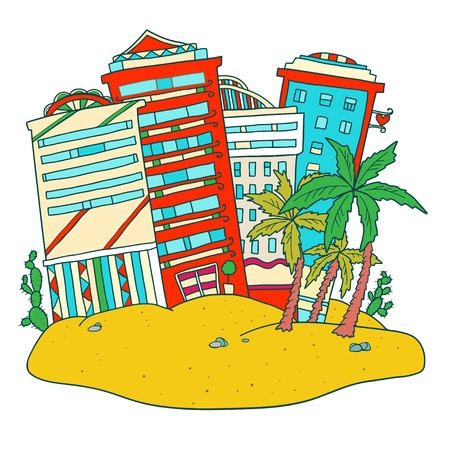 Icon island with palm trees and buildings  Vector