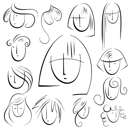 frizzy: Set sketch hairstyles