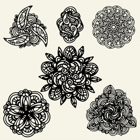 Set isolated floral tattoo  Illustration